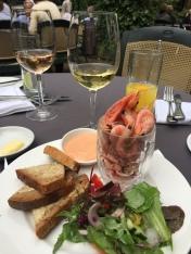 Wine and prawns